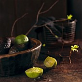 An arrangement of avocados and limes (Mexico)