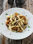 Casarecce pasta with forest mushrooms and thyme