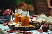Hot mulled cider on an autumnal table