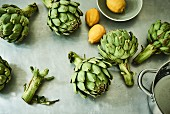 Green artichokes and lemons