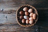 Organic eggs in a wicker basket