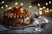Fruit cake with pecan nuts for Christmas
