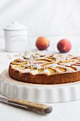 A summer cake with peaches and lemon