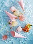 Various sorbet ice balls