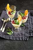 Cheese pudding with peach
