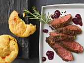 Beef steak with corn pudding