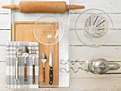 Kitchen utensils for making an apple cake with a yeast dough