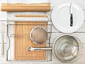 Kitchen utensils for making a vanilla cake