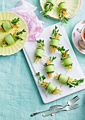 Cucumber rolls with herbed cream cheese
