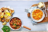 Baked Camembert, Beef bourguignon and Pear Tarte Tatin (France)