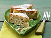 A banana cake with quark and oatmeal
