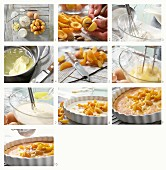 Apricot cake being made