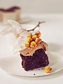 Chocolate cake with chocolate cream and caramelised hazelnuts