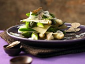 Asparagus and truffle lasagne with white and green asparagus