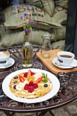 Waffles with berries at 'Nord Coast Coffee Roastery' in Hamburg, Germany