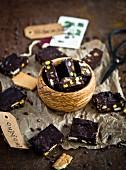 Homemade fudge with pistachios