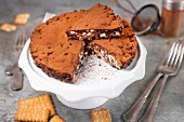 A no-bake cocoa and shortbread biscuit cake