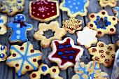 Assorted gingerbread biscuits with colourful icing