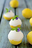 Lemon sorbet served in lemon halves