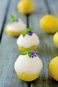 Zitronensorbet in Zitronenhälften