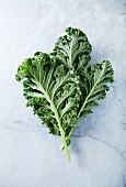 Fresh organic kale leaves on a marble background