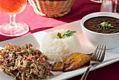 Shredded meat with black beans, rice and plantains (Venezuela)