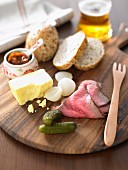 British Ploughmans Lunch with Rare Roast Beef