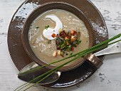 Chestnut and potato soup with apple and chives