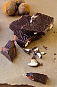 Dark chocolate bar with almonds