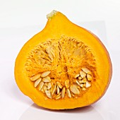 A Hokkaido pumpkin sliced in half