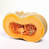 A Muscat pumpkin cut in half