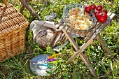 White cabbage and carrot salad in glass bowl on folding stool next to picnic basket on green grass