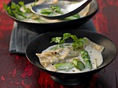 Asian coconut soup with asparagus dumplings and chervil