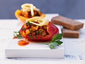 Stuffed peppers with cheese and wholemeal bread