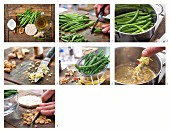 How to make marinated green beans with ginger, chili and peanut kernels