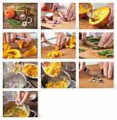 Kürbiseintopf mit grünen Bohnen und roter Zwiebel zubereiten