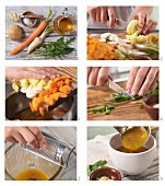 How to prepare a carrot and potato cream soup with rocket and almond flakes