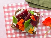 Beet sandwich with nasturtium and horseradish