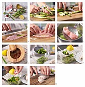 How to make turkey roulade on an asparagus salad with wasabi and pink pepper