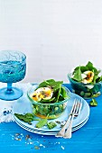 Soft boiled egg, edamame bean and spinach pot with citrus dressing