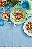 Coconut waffles with bacon and nuts
