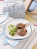 Lamb Cutlets with Pea and Zucchini