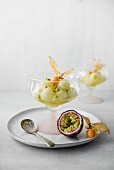 Melon salad with pasion fruit and physalis