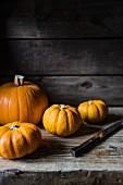Pumpkins with a knife