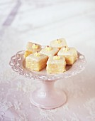 Mini Rice Krispies cakes on an etagere
