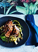 Grilled sticky pork fillet with jalapeno and lime salsa