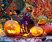 Halloween with hollowed out pumpkins