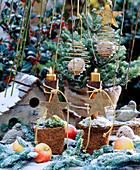 Vogelhaus aus Holz, Kokostopf mit Moos, Windlicht und Sterne