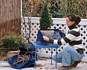Winterschutz für Kübelpflanzen: 2. Step: Mit blauen Rupfen, Töpfe dekorativ verp