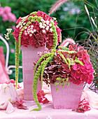 Hydrangea / Hortensien, Amaranthus / Fuchsschwanz